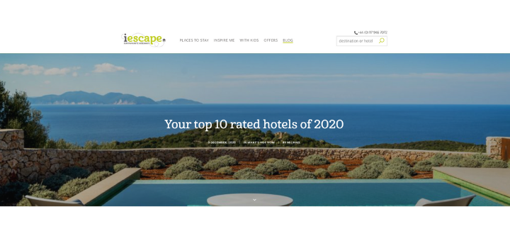The top 10 rated hotels of I escape